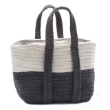 Coastal Slate Grey Farmhouse Basket with Handles