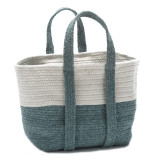 Coastal Teal Farmhouse Basket with Handles