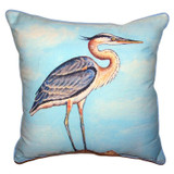 Blue Heron on Pier Indoor-Outdoor Pillow