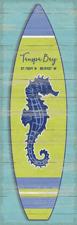 Blue Seahorse Surfboard Custom Art