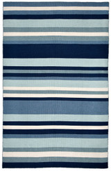 Tribeca Water Blue Striped Woven Indoor-Outdoor Rug