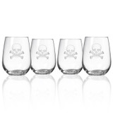 Skull and Cross Bones Stemless Wine Glasses-Set of 4