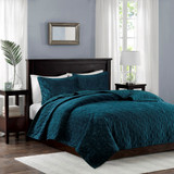 Harper Teal Velvet Coverlet Set-King