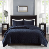 Harper Navy Velvet Coverlet Set - Queen Size