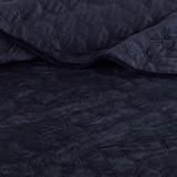 Harper Navy Blue Velvet Coverlet Set-Queen close up