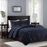 Harper Navy Velvet Coverlet Set-King