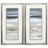 Horizons Framed Contemporary Coastal Art - Set of 2