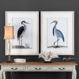 Shore Bird Art Framed in White Art