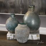 Set of 3 Sea Tossed Blue-Green Vases