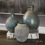 Set of 3 Sea Tossed Blue-Green Vases