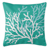 Turquoise and Aqua Coral Duo Beach Cottage Pillow