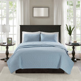 Hudson Bay Blue Quilted King Size Coverlet Set