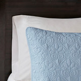 Hudson Bay Blue Quilted King Size Coverlet Set sham close up