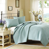 Vancouver Cove Sky Blue Velvet Touch Coverlet Set -Queen Size