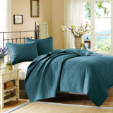Vancouver Cove Peacock Blue Velvet Touch Coverlet Set - Queen Size