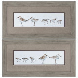 Pebbles and Sandpipers - Set of 2 Framed Art
