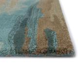 Teal Waterfall Hand-Tufted Wool Rug corner