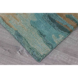 Teal Waterfall Hand-Tufted Wool Rug corner 2