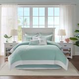 Aqua Blue Coastline Comforter Collection - Full Size room view 1