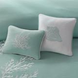 Aqua Blue Coastline Comforter Collection - Full Size close up with dec pillows