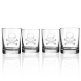 Skull and Cross Bones Double Old Fashioned Glasses - Set of 4