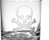 Skull and Cross Bones Double Old Fashioned Glasses - Set of 4 close up