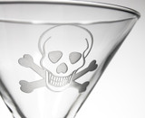 Skull and Cross Bones Martini Glasses - Set of 4 close up