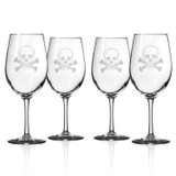 Skull and Cross Bones Large Wine Goblets - Set of 4