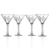 Starfish Etched Martini Glasses - set of 4