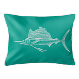 Aqua Sailfish Lumbar Coastal Pillow