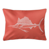 Coral Sailfish Lumbar Coastal Pillow