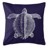Navy Blue Vintage Sea Turtle Coastal Pillow