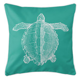 Aqua Vintage Sea Turtle Coastal Pillow
