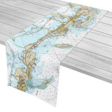 Key Largo to Tavernier Florida Nautical Chart Table Runner