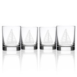 Sailboat Double Old Fashioned Glasses - Set of 4