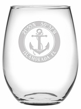 Custom Coordinates Anchor Stemless Wine Glasses
