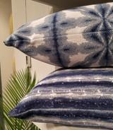 Sunshibo Stripe 22 x 22 Navy and White Pillow with flower sunshibo pillow