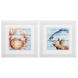 Whimsical Crab and Fish Art
