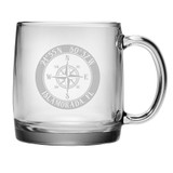 Custom Coordinates Compass Rose NSEW Coffee Mug Set of 4