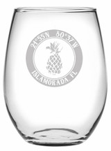 Custom Coordinates Pineapple Stemless Wine Glasses Set of 4