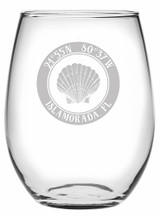 Custom Coordinates Sea Shell Stemless Wine Glasses Set of 4