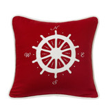 Red Compass Embroidery Pillow
