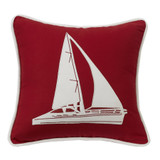 Red and White Sailboat Pillow