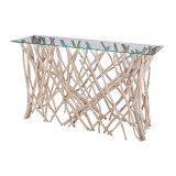 Teak Driftwood Console Table