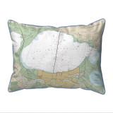 Lake Pontchartrain and Majrepas, LA Nautical Map 20 x 24 Pillow