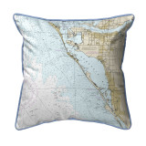Sarasota Bay, Florida Nautical Chart 22 x 22 Pillow