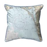 Estero Bay and Bonita Springs, Florida Nautical Chart 22 x 22 Pillow