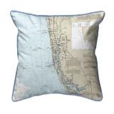 Naples Bay, Florida Nautical Chart 22 x 22 Pillow