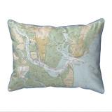 St. Simons Sound Georgia Nautical Chart 24 x 20 Pillow