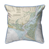 Cape Fear North Carolina Nautical Chart 22 x 22 Pillow